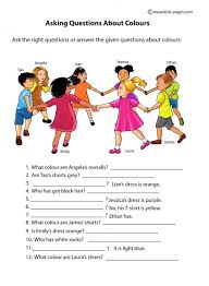 asking questions about colours worksheets english lesson