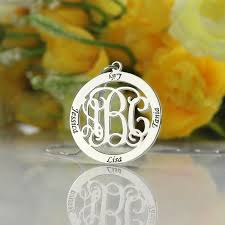 necklace with kids names monogram family name necklace custom circle monogram