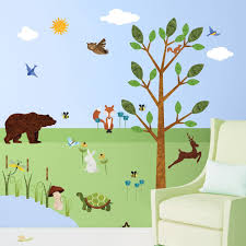 animal stencils stickers and coordinating home decor for children forest wall sticker set 37 peel stick woodland decals for nursery and kids