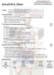 Sprint Resume Darryll Oliver Athletic Resume