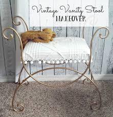 Antique Vanity Chairs Vintage Vanity Stool Makeover Little Vintage Cottage
