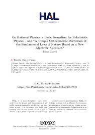 on rational physics a basic formalism for relativistic physics and