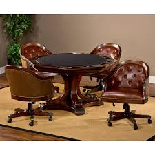 Leather Chairs Harding Game Table Set Brown Leather Chairs Rich Cherry Dcg