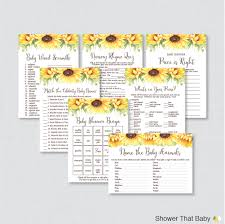 sunflower baby shower games package seven printable games
