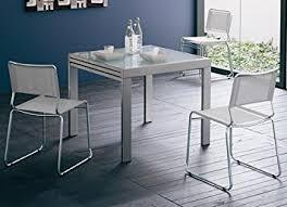 table cuisine verre table 90 x 90 cm à rallonge satinée verre noir amazon fr