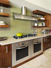 tile the soft green glass tile backsplash in this contemporary