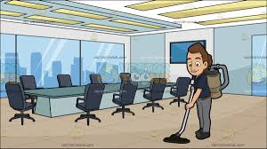 a female janitor vacuuming the floor at a modern board room