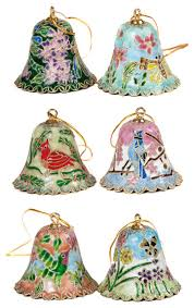 6 cloisonne bell ornament set traditional