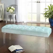 bench wonderful tufted velvet criss cross acrylic legs regarding
