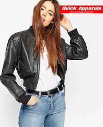 new look short women leather zipper jacket