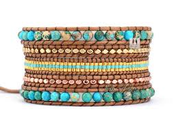 beading leather bracelet images Exclusive stone coral with selected glass beads wrap bracelets jpg