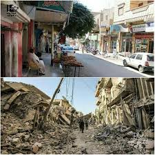 syria before and after al mansor street downtown raqqa city before and after struck by us