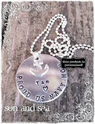Personalized Hand Stamped Jewelry Hand Stamped Necklace Proud Navy Mom By Chicmommacreations I Want