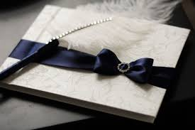 Wedding Sign In Book Navy Blue Wedding Guest Book With Ostrich Feather Pen Blue Sign In