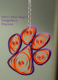 quilled clemson tiger paw orange purple paper