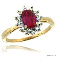 ruby stone rings images 14k yellow gold diamond halo ruby ring 0 85 ct oval stone 7x5 mm jpg