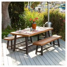 Wooden Patio Table Carlisle 3pc Rustic Wood Patio Dining Set Brown Black
