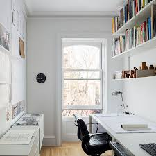 small and narrow home office and study design with scandinavian
