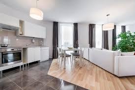 modern interior design kitchen modern interior design living room with kitchen stock image