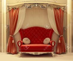 3d red velvet curtain and royal sofa stock photo picture and