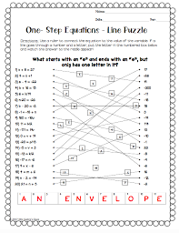 free one step equations activity solving equations in algebra 1
