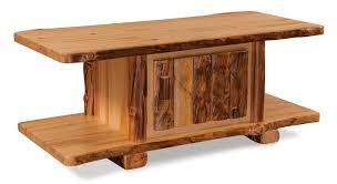 Log Side Table Pine Log Coffee Table With Door