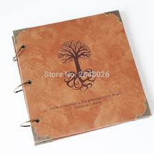 leather photo albums engraved 50 pages tree personalized monogrammed engraved leather photo
