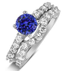 Diamond Sapphire Wedding Ring by 2 Carat Vintage Round Cut Blue Sapphire And Diamond Wedding Ring