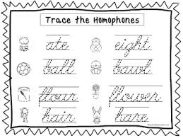 2 cursive trace the homophones worksheets kdg 2nd grade handwriting