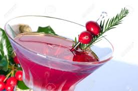 martini cranberry closeup of cosmopolitan cocktail in martini glass and christmas