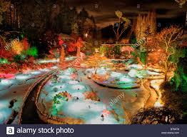 sunken garden with christmas lights at night butchart gardens