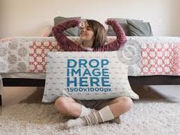 Huge Pillow Bed Young Waking Up Sitting Down With A Big Pillow Mockup