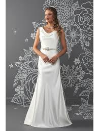sheath wedding dress romantica satin sheath bridal gown with cowl neck ivory
