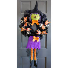 Witch Wreath Halloween Plush Smiling Witch Wreath Accent Purple 9725268b Craftoutlet Com