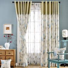 Country Curtains For Living Room Blue Floral Print Cotton Blend Color Block Country Curtains For