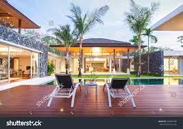 exterior design spacious modern luxury pool stock photo 664982959