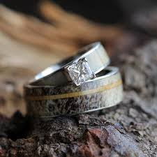 wooden wedding ring sets antler wedding ring set moissanite engagement ring with wood ring