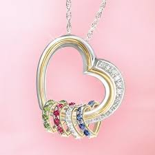 necklace with children s birthstones forever in a s heart heart shaped birthstone pendant