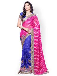 rani pink colour pink saree buy pink color sarees online myntra