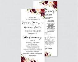 Personalized Wedding Programs Floral Program Etsy
