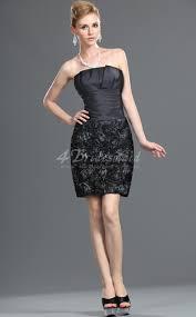 sheath column strapless short mini black lace bridesmaid dresses