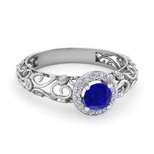 filigree engagement rings bezel filigree diamond halo blue sapphire engagement ring in 950