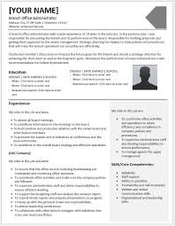 branch office administrator resumes for ms word resume templates