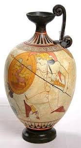 Greek Vase Images Two Warriors With Shields White Figure Greek Vase Greek Vases