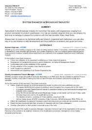System Engineer Resume Example by Cv Sébastien Ribaute System Engineer In Broadcast Industry