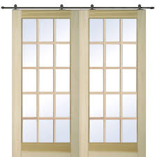 Double Barn Doors by Mmi Door 72 In X 80 In Poplar 15 Lite Double Door With Barn Door