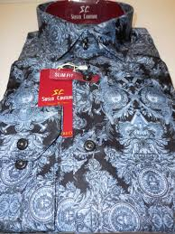 Conceptmodern Mens Dark Blue Artistic Concept Modern Fit Clubbing Shirt Suslo