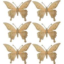 time gold clip on butterfly ornaments set of 6