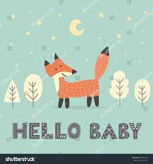 baby shower card fox text stock vector 587087819