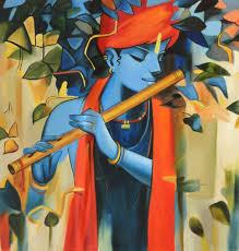 krishna hindu deity art handmade indian portrait oil on canvas